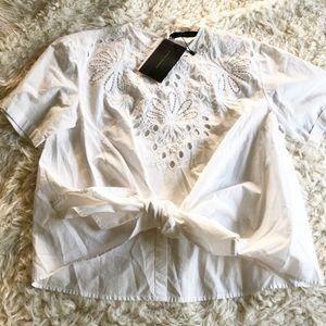 NWT Zara Woman White Eyelet Tie Blouse Top